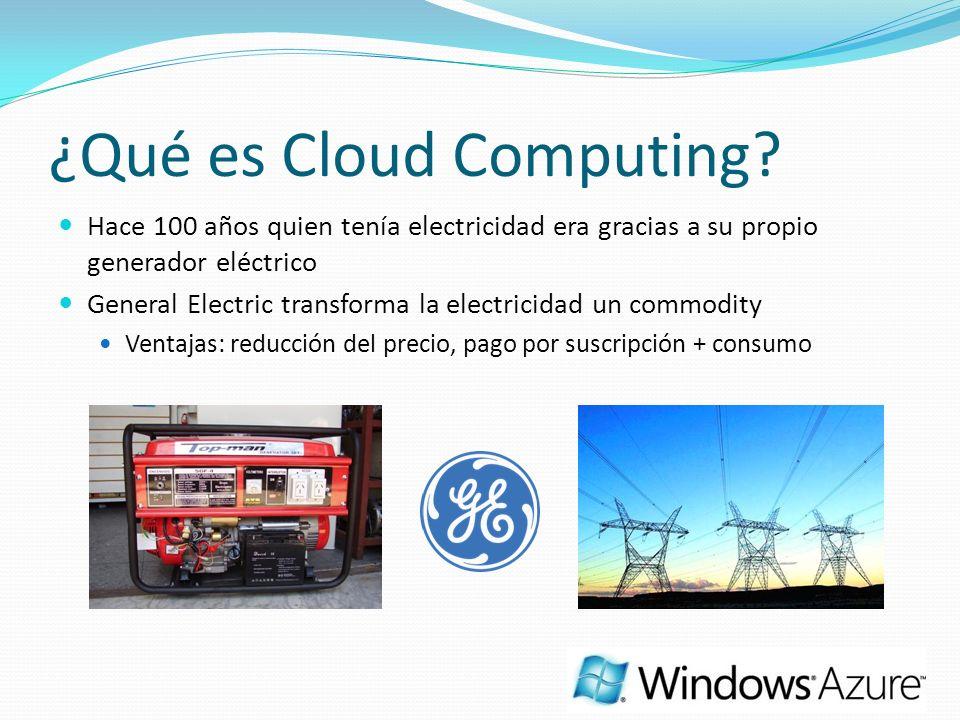 ¿Qué es Cloud Computing? Hace 100 años quien tenía electricidad era gracias a su propio generador eléctrico General Electric transforma la electricida