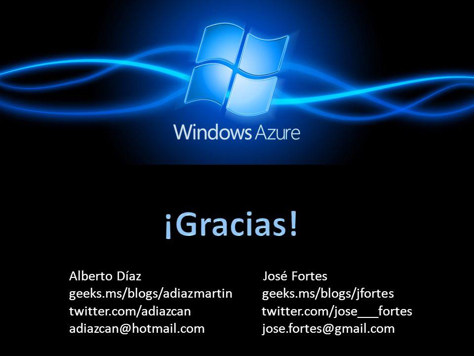 Alberto Díaz José Fortes geeks.ms/blogs/adiazmartin geeks.ms/blogs/jfortes twitter.com/adiazcan twitter.com/jose___fortes adiazcan@hotmail.com jose.fortes@gmail.com