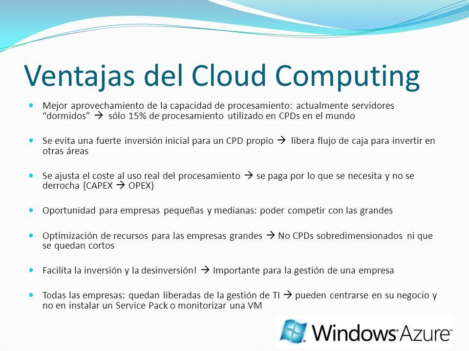 Ventajas del Cloud Computing Mejor aprovechamiento de la capacidad de procesamiento: actualmente servidores dormidos sólo 15% de procesamiento utiliza