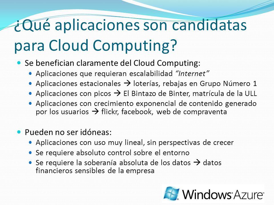 ¿Qué aplicaciones son candidatas para Cloud Computing? Se benefician claramente del Cloud Computing: Aplicaciones que requieran escalabilidad Internet