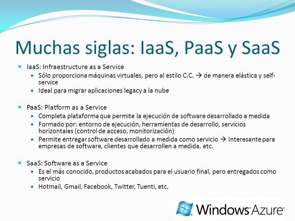 Muchas siglas: IaaS, PaaS y SaaS IaaS: Infraestructure as a Service Sólo proporciona máquinas virtuales, pero al estilo C.C. de manera elástica y self