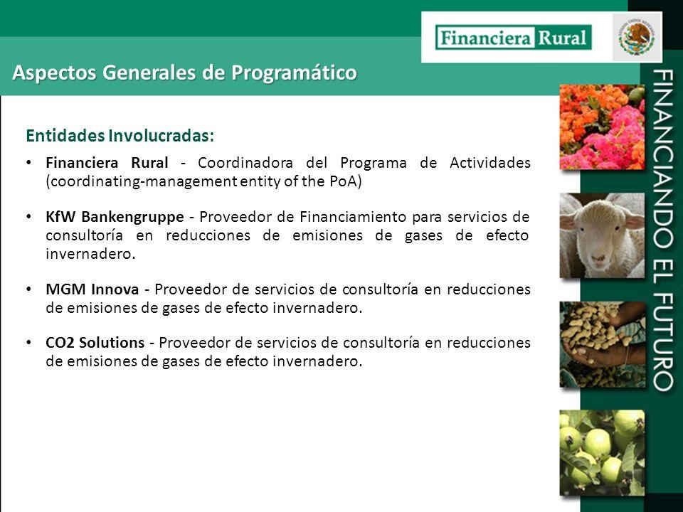 Aspectos Generales de Programático Entidades Involucradas: Financiera Rural - Coordinadora del Programa de Actividades (coordinating-management entity