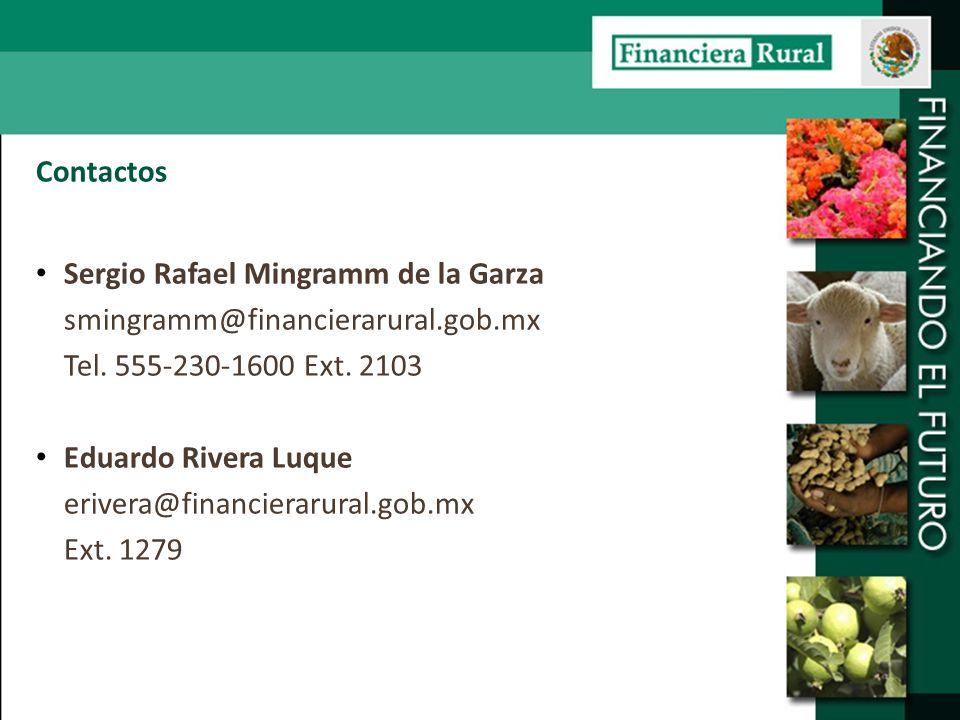 Contactos Sergio Rafael Mingramm de la Garza smingramm@financierarural.gob.mx Tel. 555-230-1600 Ext. 2103 Eduardo Rivera Luque erivera@financierarural