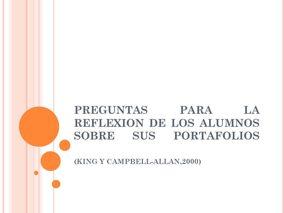 PREGUNTAS PARA LA REFLEXION DE LOS ALUMNOS SOBRE SUS PORTAFOLIOS (KING Y CAMPBELL-ALLAN,2000)