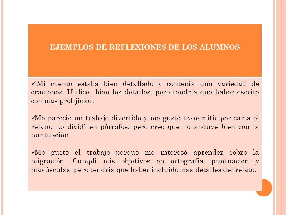 EJEMPLOS DE REFLEXIONES DE LOS ALUMNOS Mi cuento estaba bien detallado y contenía una variedad de oraciones.
