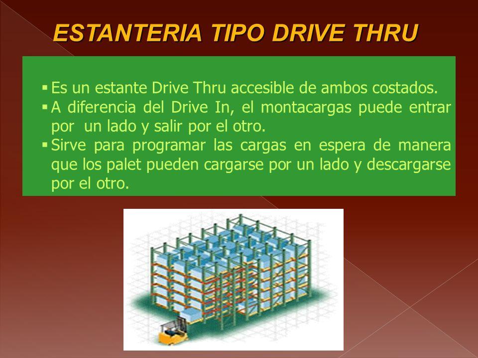 ESTANTERIA TIPO DRIVE IN DRIVE IN Aumentan la reducción del espacio de pasillo. Proveen filas de almacenamiento de 5 a 10 cargas de profundidad y de 3
