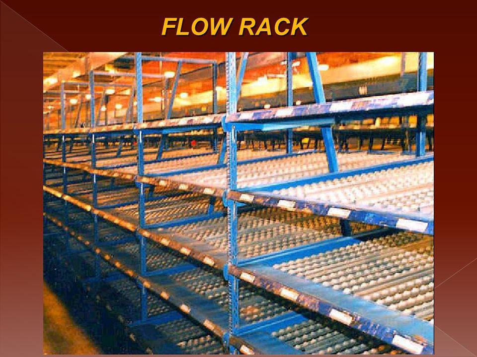 PALLETS FLOW Funciona como una estantería Drive Thru, sin embargo se da el sistema FIFO con bandas transportadoras con rodachines, bandas de rodillo o