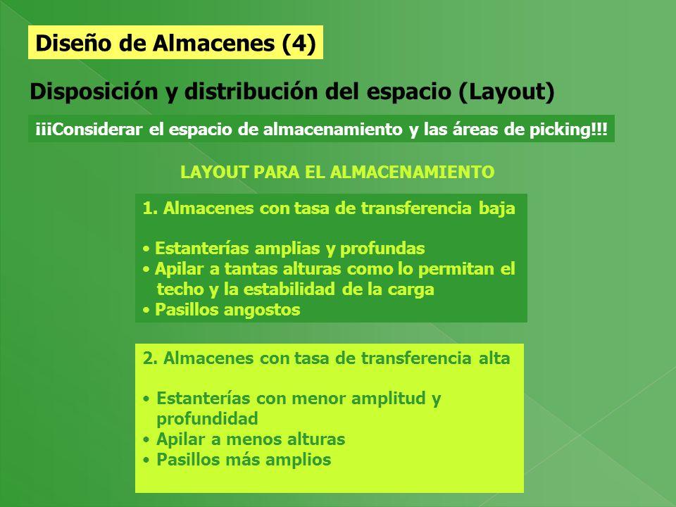 Diseño de Almacenes (3) Consolidación y Unitarización de cargas Principio Fundamental del Almacenamiento: A mayor tamaño de la unidad de carga, menore