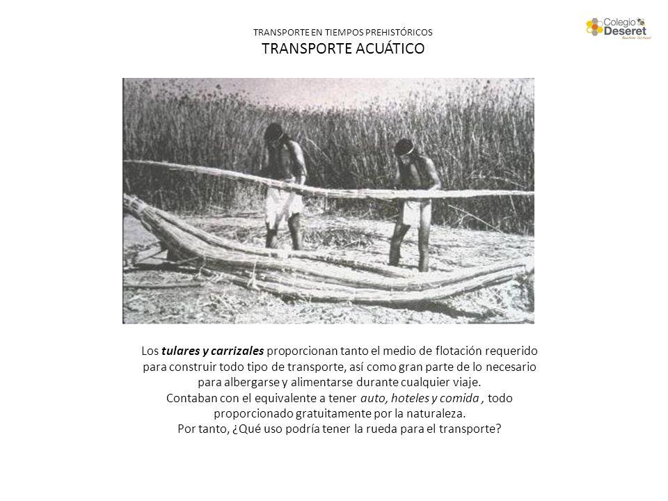 TRANSPORTE EN TIEMPOS PREHISTÓRICOS TRANSPORTE ACUÁTICO Los tulares y carrizales proporcionan tanto el medio de flotación requerido para construir tod