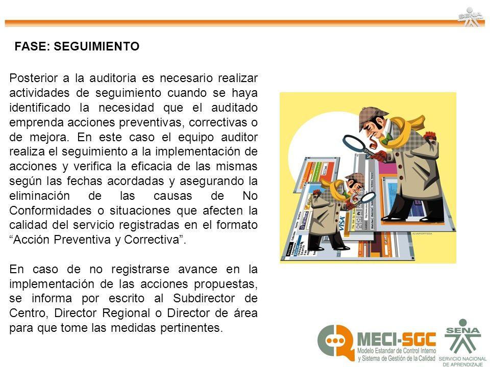 Posterior a la auditoria es necesario realizar actividades de seguimiento cuando se haya identificado la necesidad que el auditado emprenda acciones p