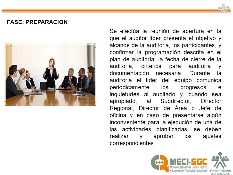 FASE: PREPARACION Se efectúa la reunión de apertura en la que el auditor líder presenta el objetivo y alcance de la auditoria, los participantes, y co