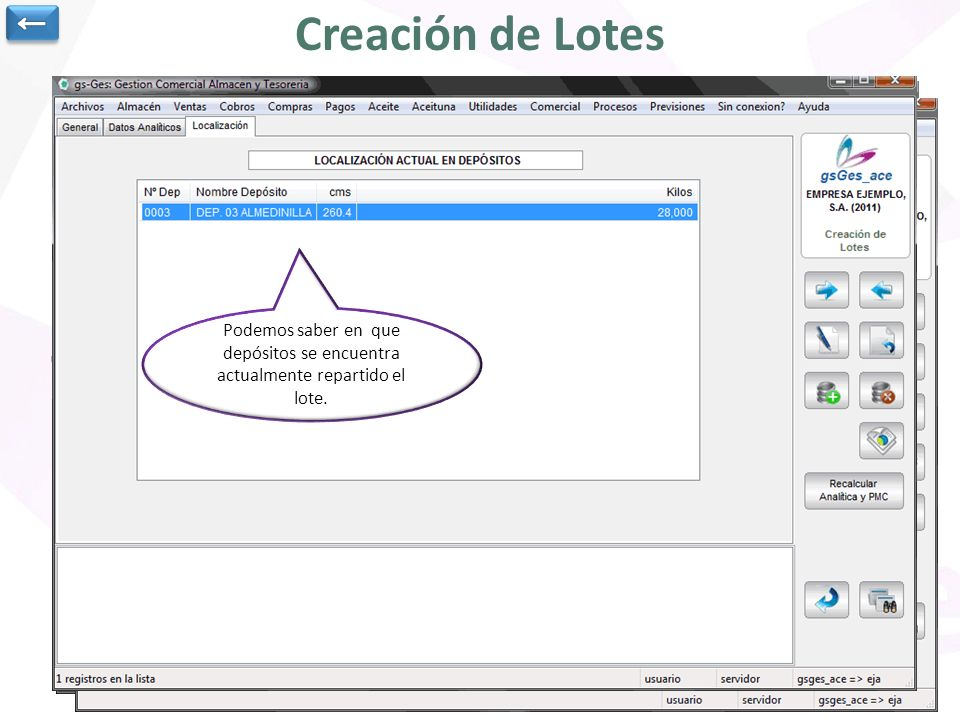 Creación de Lotes Fecha de creación del lote y clientes con los que está relacionado y lote personalizado para cada cliente. La fecha fin de lote se r
