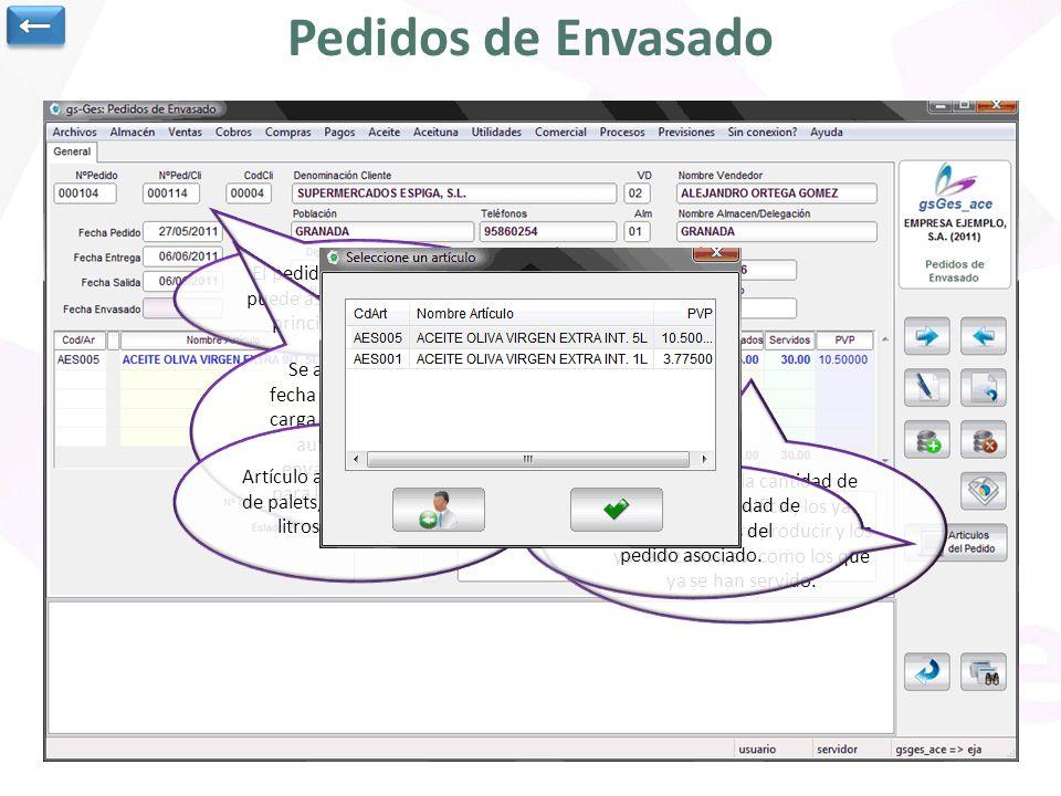 Pedidos de Envasado El pedido de envasado se puede asociar a un pedido principal del cliente. Se anota la fecha del pedido, la fecha de entrega y la d