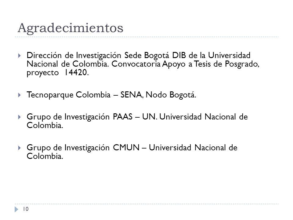 Agradecimientos 10 Dirección de Investigación Sede Bogotá DIB de la Universidad Nacional de Colombia. Convocatoria Apoyo a Tesis de Posgrado, proyecto