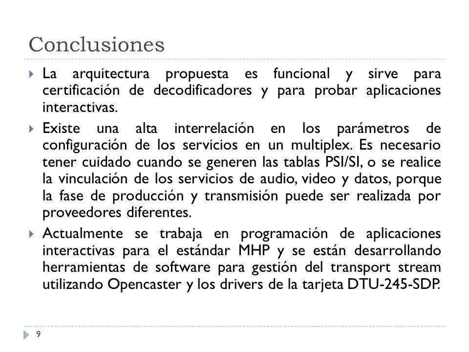 Conclusiones 9 La arquitectura propuesta es funcional y sirve para certificación de decodificadores y para probar aplicaciones interactivas. Existe un