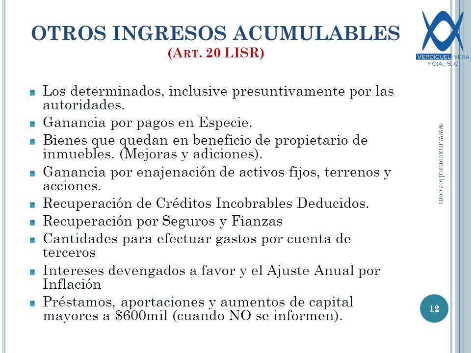 OTROS INGRESOS ACUMULABLES (A RT.