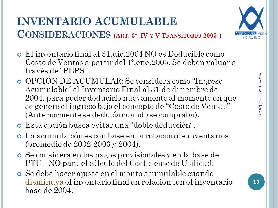INVENTARIO ACUMULABLE C ONSIDERACIONES (A RT.