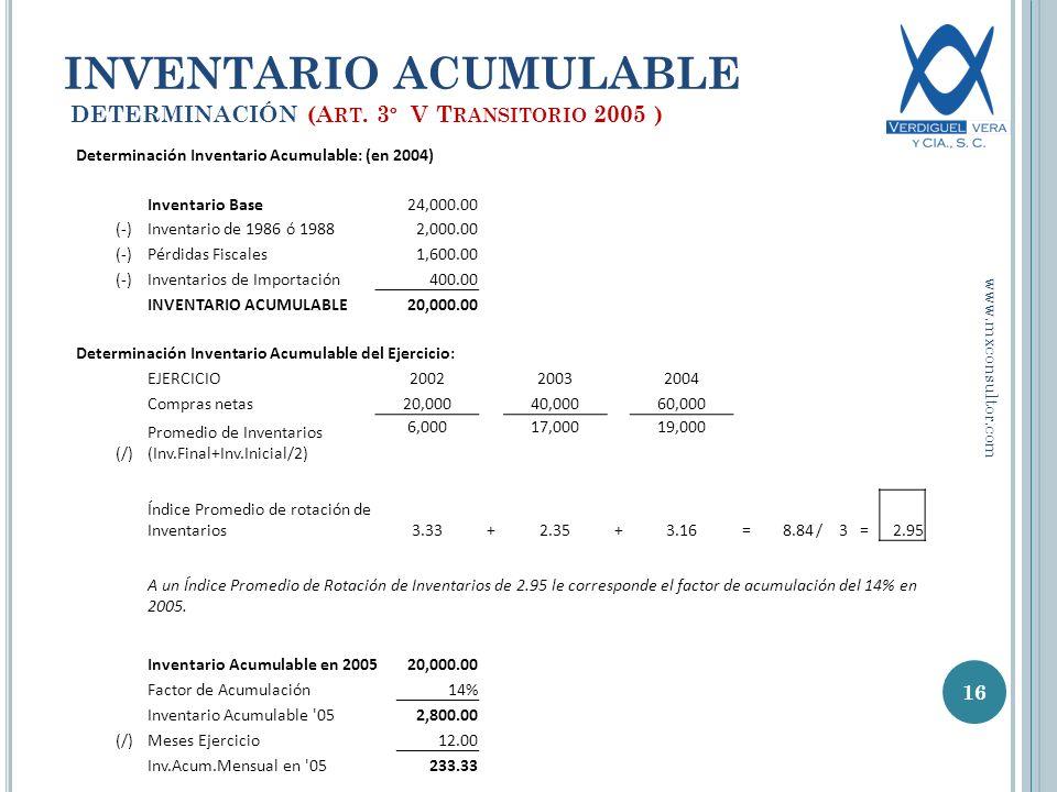 INVENTARIO ACUMULABLE DETERMINACIÓN (A RT.