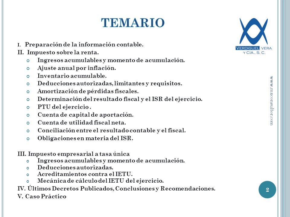 I.Preparación de la información contable. II. Impuesto sobre la renta.