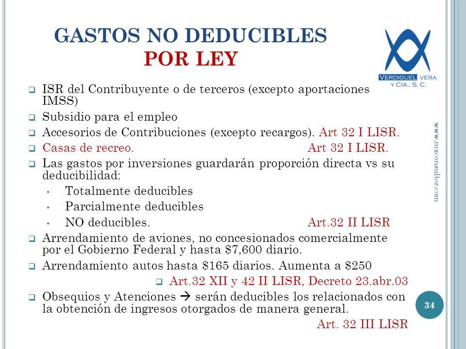 GASTOS NO DEDUCIBLES POR LEY ISR del Contribuyente o de terceros (excepto aportaciones IMSS) Subsidio para el empleo Accesorios de Contribuciones (excepto recargos).