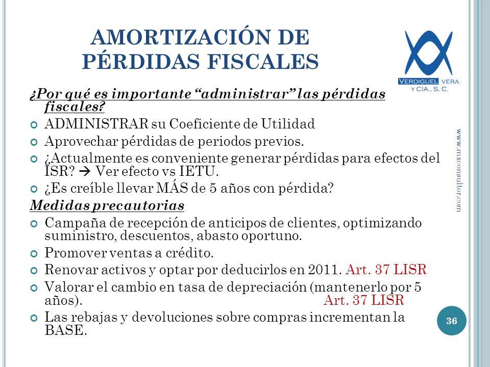 AMORTIZACIÓN DE PÉRDIDAS FISCALES ¿Por qué es importante administrar las pérdidas fiscales.