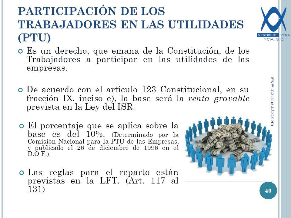 PARTICIPACIÓN DE LOS TRABAJADORES EN LAS UTILIDADES (PTU) 40 Es un derecho, que emana de la Constitución, de los Trabajadores a participar en las utilidades de las empresas.