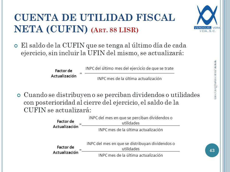 El saldo de la CUFIN que se tenga al último día de cada ejercicio, sin incluir la UFIN del mismo, se actualizará: 43 CUENTA DE UTILIDAD FISCAL NETA (CUFIN) (A RT.