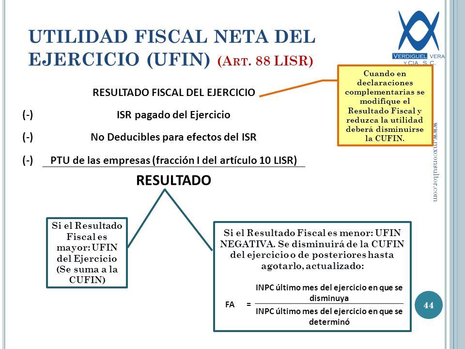 RESULTADO FISCAL DEL EJERCICIO (-)ISR pagado del Ejercicio (-)No Deducibles para efectos del ISR (-)PTU de las empresas (fracción I del artículo 10 LISR) RESULTADO 44 UTILIDAD FISCAL NETA DEL EJERCICIO (UFIN) (A RT.