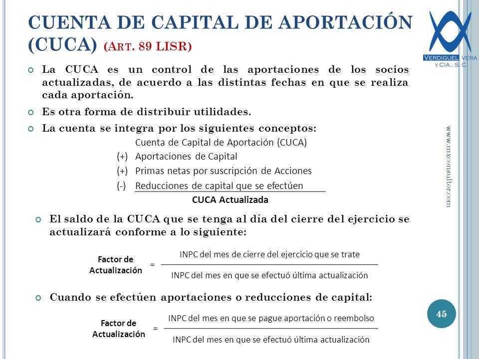 CUENTA DE CAPITAL DE APORTACIÓN (CUCA) (A RT.