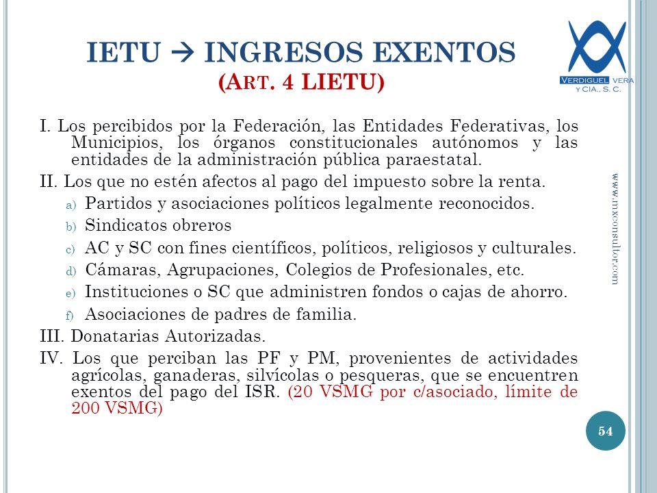 IETU INGRESOS EXENTOS (A RT.4 LIETU) I.