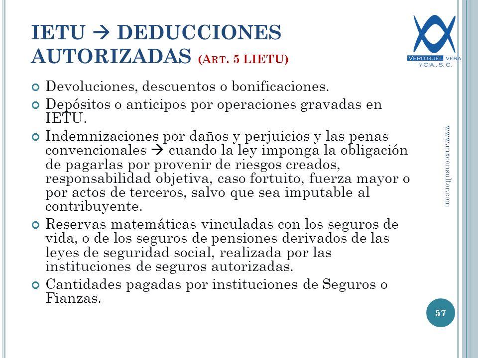 Devoluciones, descuentos o bonificaciones.Depósitos o anticipos por operaciones gravadas en IETU.