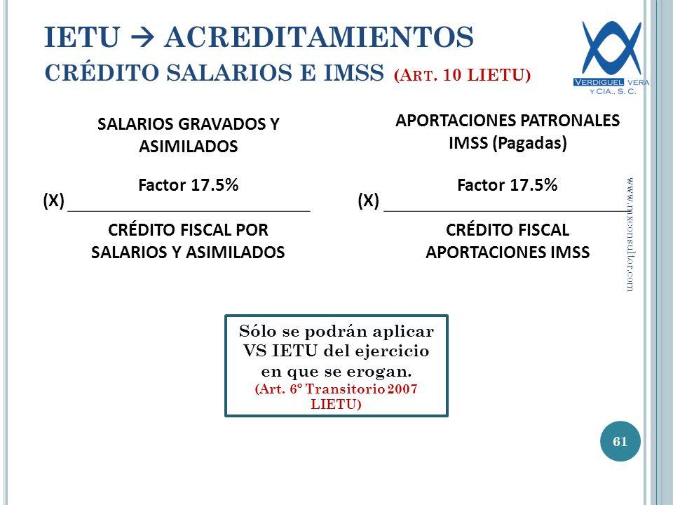 SALARIOS GRAVADOS Y ASIMILADOS APORTACIONES PATRONALES IMSS (Pagadas) (X) Factor 17.5% (X) Factor 17.5% CRÉDITO FISCAL POR SALARIOS Y ASIMILADOS CRÉDITO FISCAL APORTACIONES IMSS 61 IETU ACREDITAMIENTOS CRÉDITO SALARIOS E IMSS (A RT.