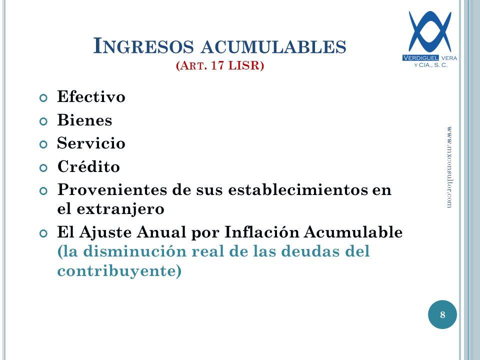 OTRAS OBLIGACIONES EN MATERIA DE ISR Llevar la contabilidad Estado de Posición Financiera e Inventario.