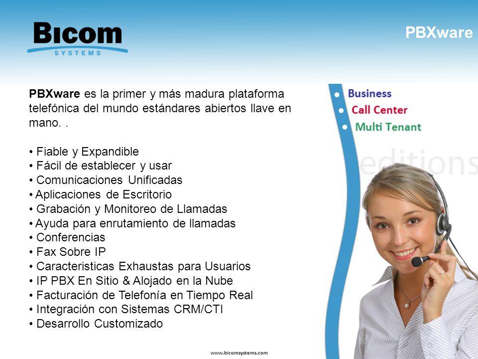 PBXware www.bicomsystems.com PBXware es la primer y más madura plataforma telefónica del mundo estándares abiertos llave en mano.. Fiable y Expandible
