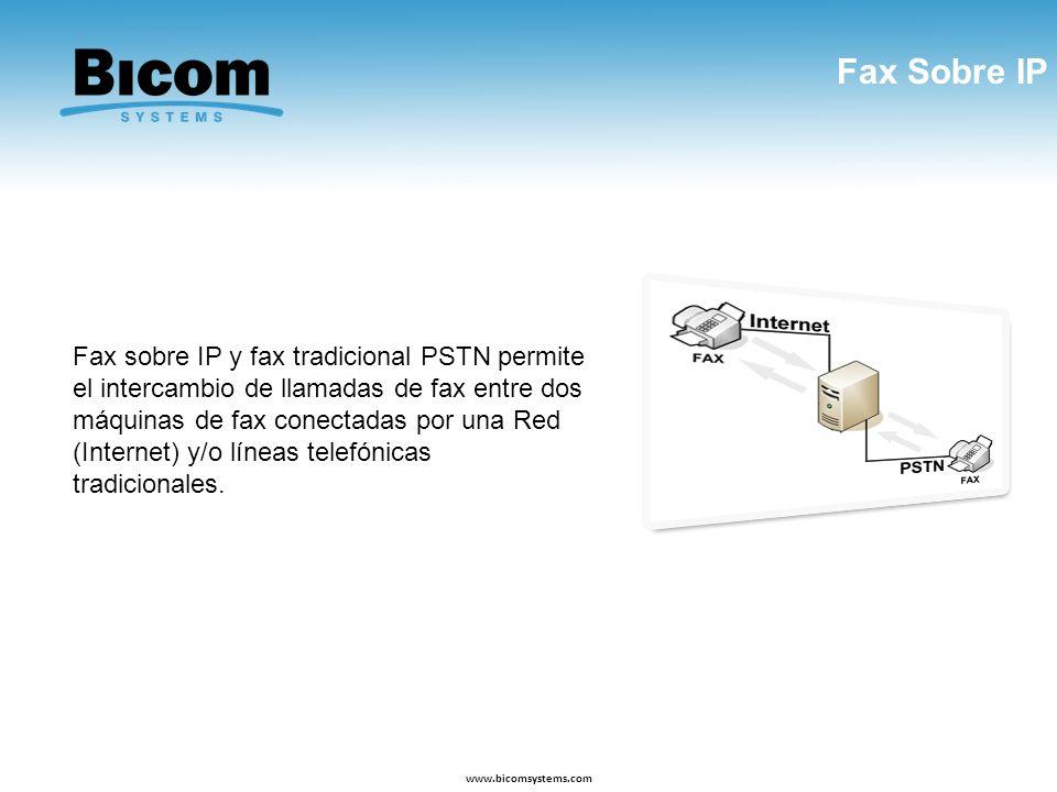 Fax Sobre IP www.bicomsystems.com Fax sobre IP y fax tradicional PSTN permite el intercambio de llamadas de fax entre dos máquinas de fax conectadas p