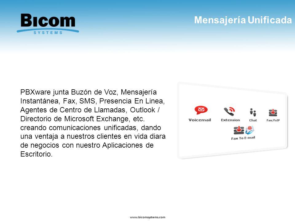 Mensajería Unificada www.bicomsystems.com PBXware junta Buzón de Voz, Mensajería Instantánea, Fax, SMS, Presencia En Linea, Agentes de Centro de Llama
