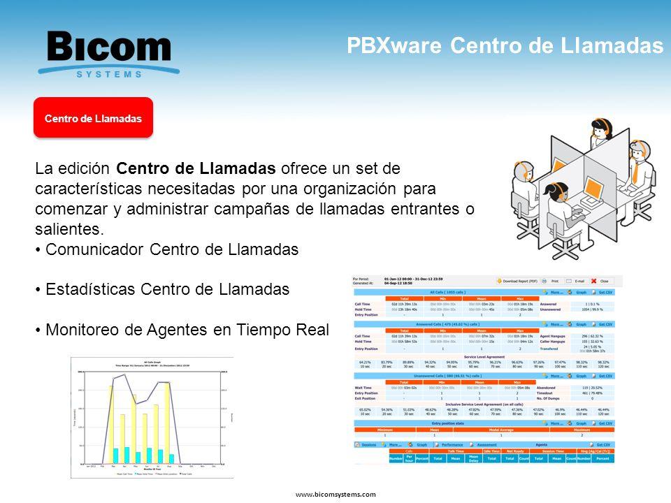 PBXware Centro de Llamadas www.bicomsystems.com La edición Centro de Llamadas ofrece un set de características necesitadas por una organización para c