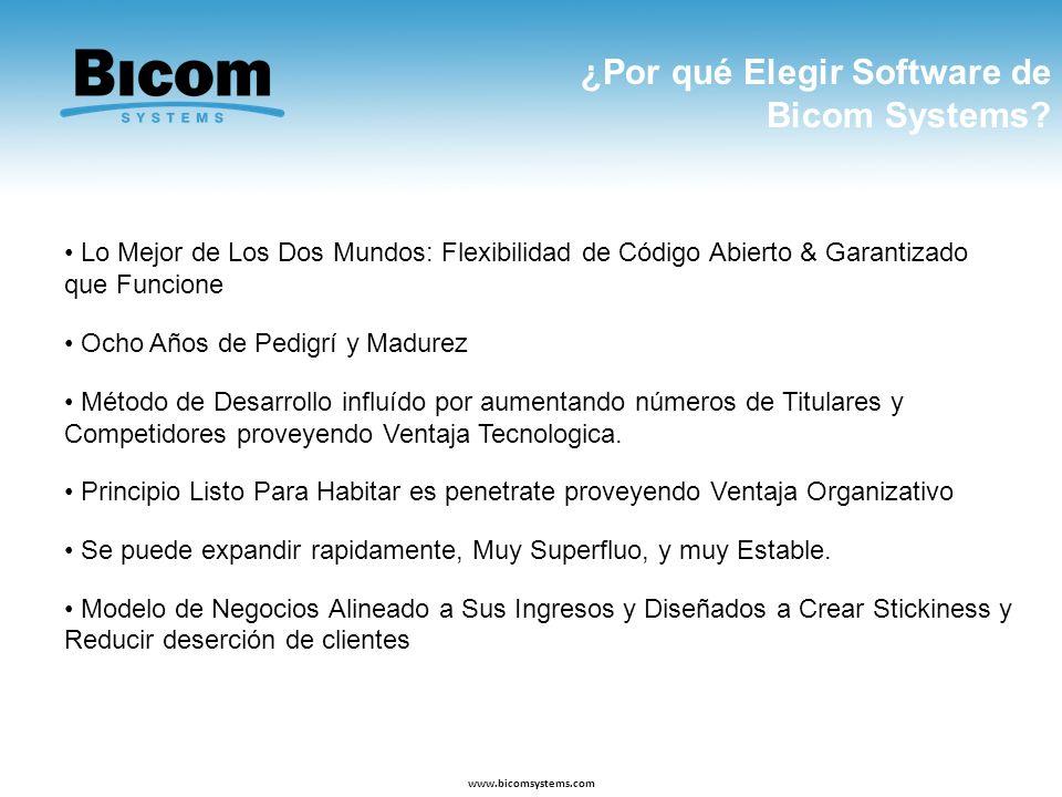 ¿Por qué Elegir Software de Bicom Systems? www.bicomsystems.com Lo Mejor de Los Dos Mundos: Flexibilidad de Código Abierto & Garantizado que Funcione