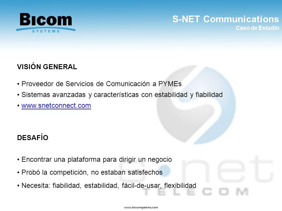 S-NET Communications Caso de Estudio www.bicomsystems.com VISIÓN GENERAL Proveedor de Servicios de Comunicación a PYMEs Sistemas avanzadas y caracterí