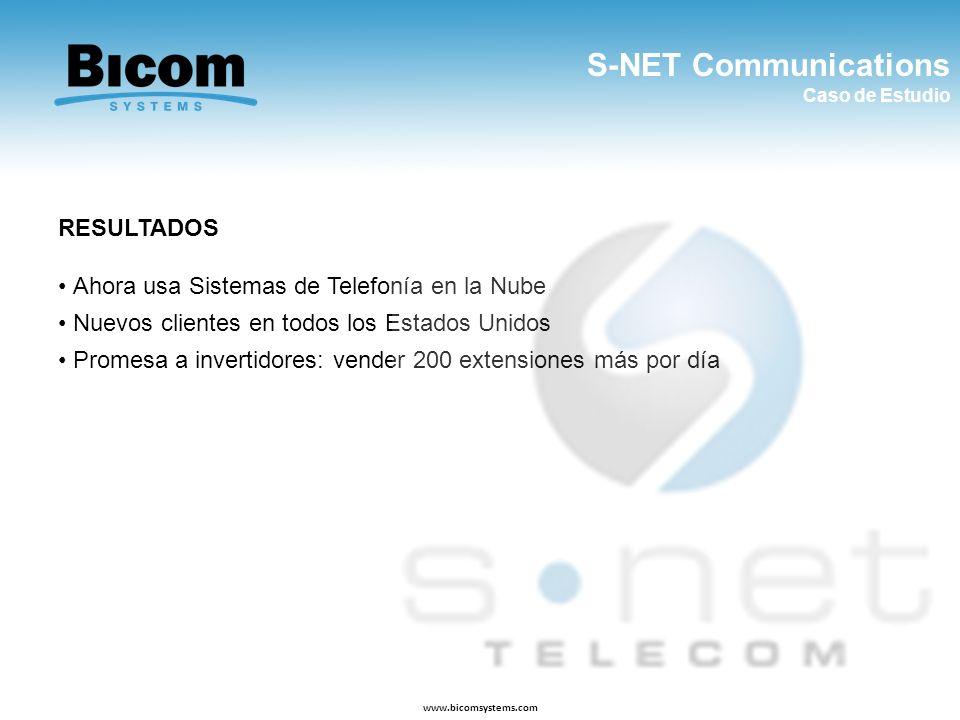 S-NET Communications Caso de Estudio www.bicomsystems.com RESULTADOS Ahora usa Sistemas de Telefonía en la Nube Nuevos clientes en todos los Estados U