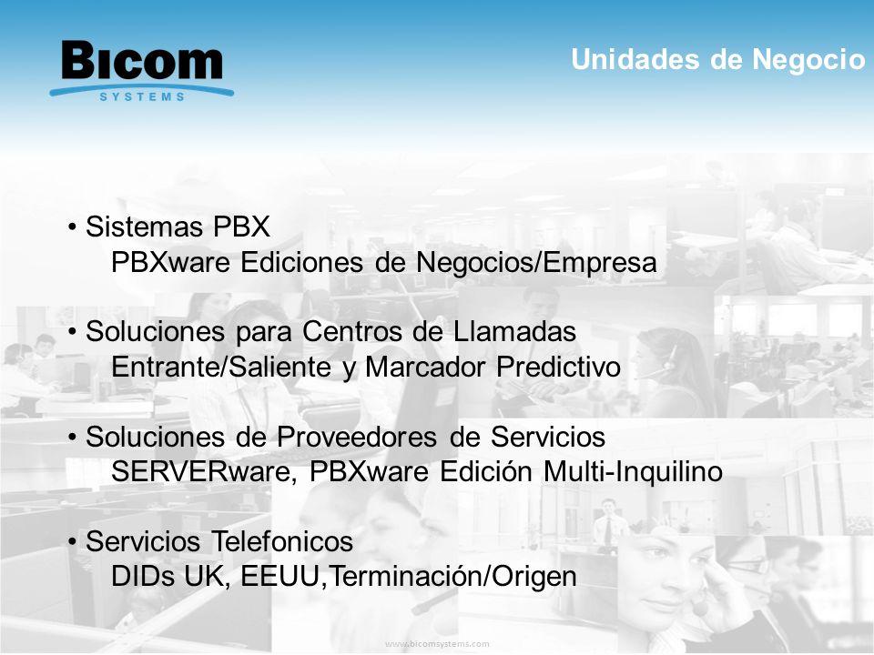 Unidades de Negocio www.bicomsystems.com Sistemas PBX PBXware Ediciones de Negocios/Empresa Soluciones para Centros de Llamadas Entrante/Saliente y Ma