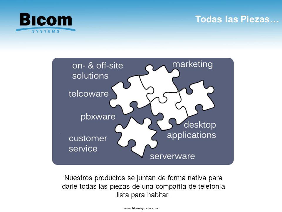 Todas las Piezas… www.bicomsystems.com Nuestros productos se juntan de forma nativa para darle todas las piezas de una compañía de telefonía lista par