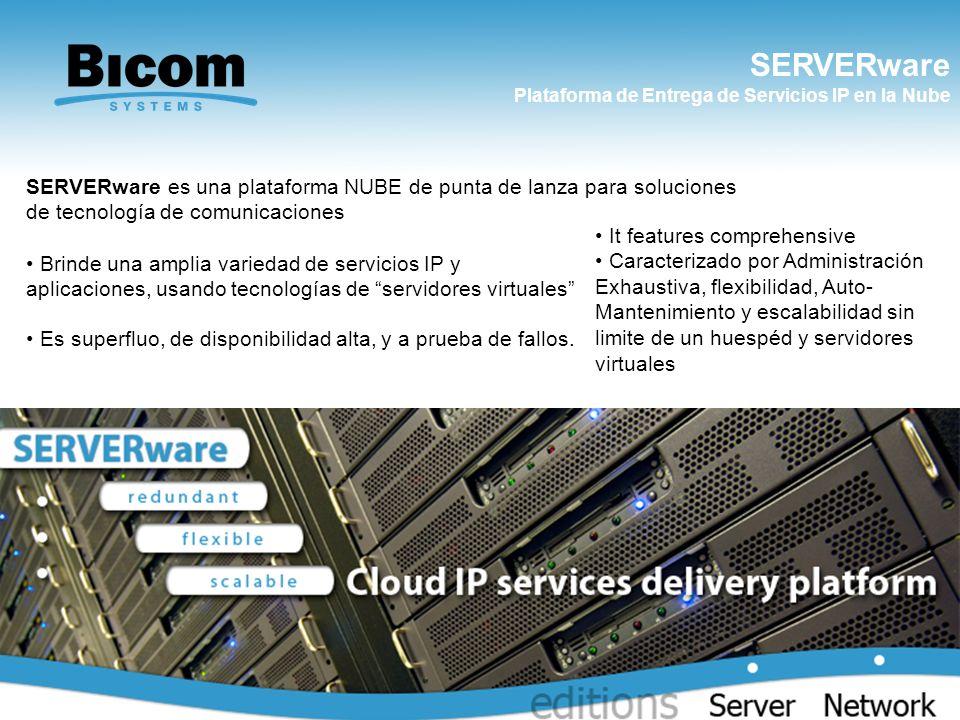 SERVERware Plataforma de Entrega de Servicios IP en la Nube www.bicomsystems.com SERVERware es una plataforma NUBE de punta de lanza para soluciones d