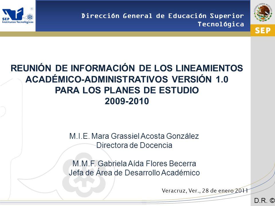 Cd.Madero 2009 Dirección General de Educación Superior Tecnológica D.R.