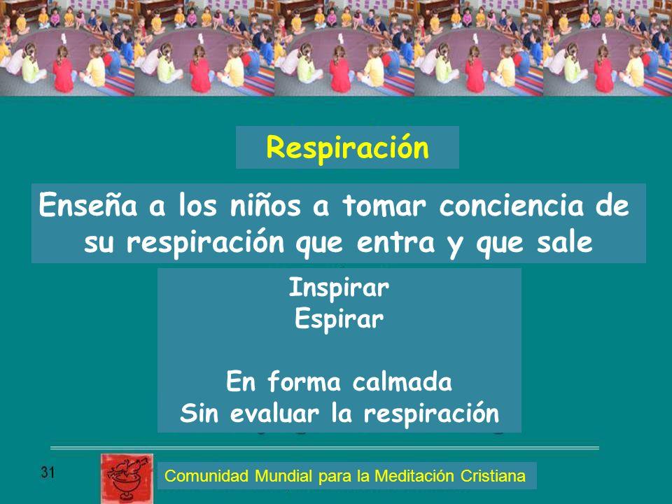Respiración Enseña a los niños a tomar conciencia de su respiración que entra y que sale Inspirar Espirar En forma calmada Sin evaluar la respiración
