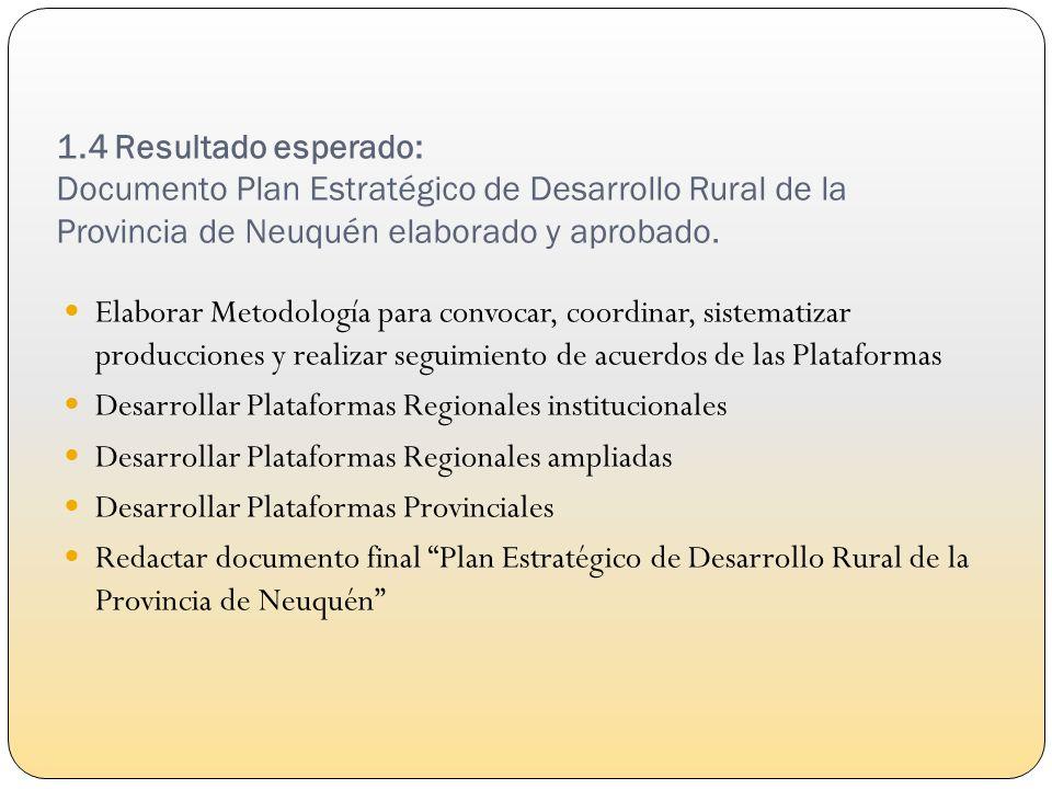 1.4 Resultado esperado: Documento Plan Estratégico de Desarrollo Rural de la Provincia de Neuquén elaborado y aprobado.