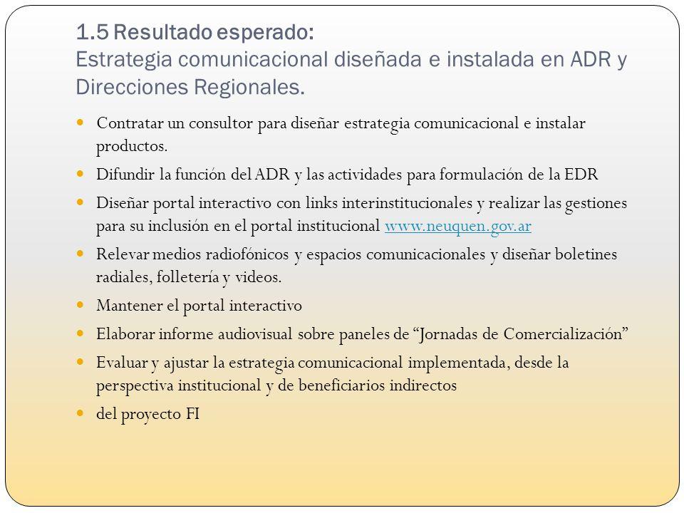 1.6 Resultado: Estudio de prefactibilidad para diseñar Sistema de Información de Desarrollo Rural (SIDesRu) realizado Contratar un consultor para la identificación y descripción de las diversas bases de datos y/o sistemas de registro de instituciones involucradas en EDR.