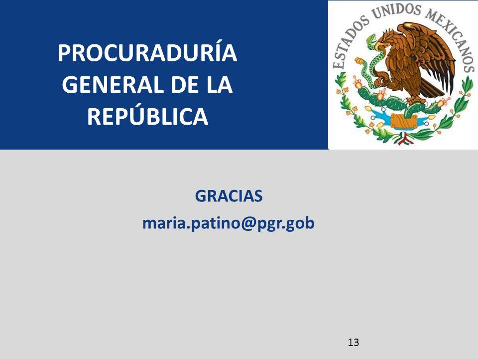 GRACIAS maria.patino@pgr.gob PROCURADURÍA GENERAL DE LA REPÚBLICA 13