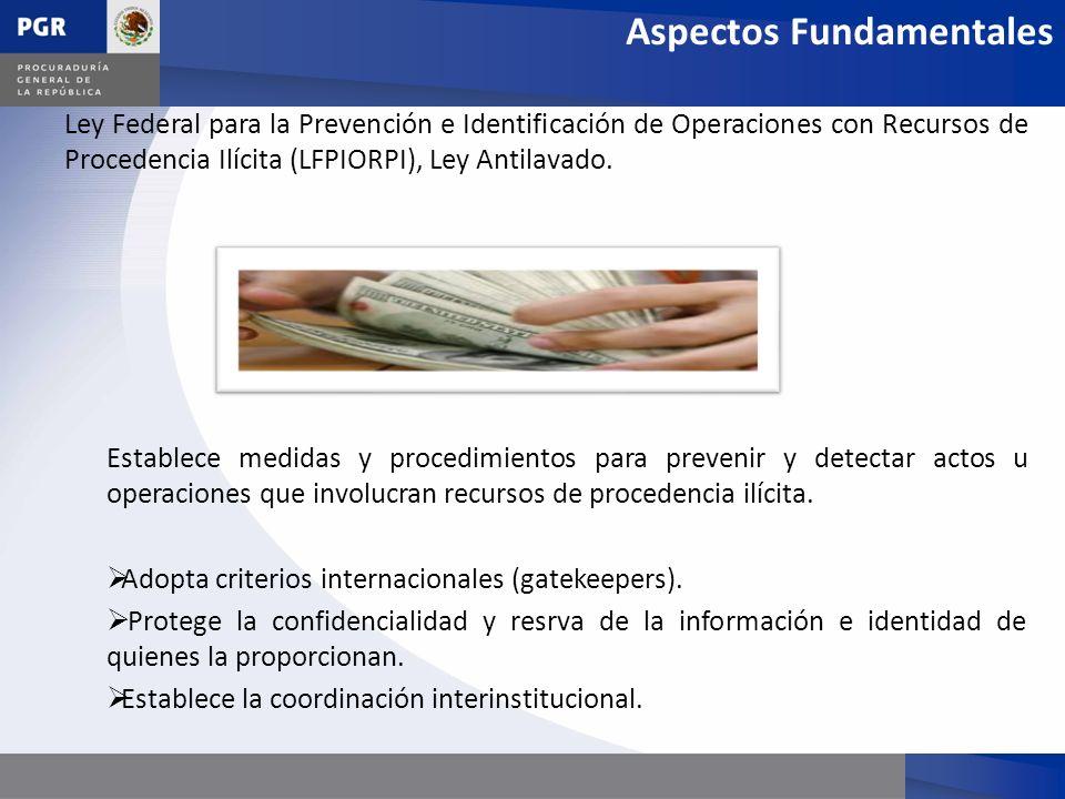 Ley Federal para la Prevención e Identificación de Operaciones con Recursos de Procedencia Ilícita (LFPIORPI), Ley Antilavado. Establece medidas y pro