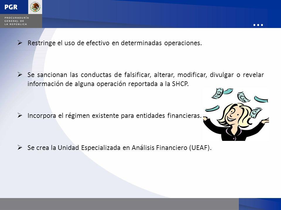 … Restringe el uso de efectivo en determinadas operaciones. Se sancionan las conductas de falsificar, alterar, modificar, divulgar o revelar informaci